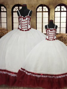 On Sale White Ball Gowns Satin and Organza Straps Sleeveless Beading Floor Length Lace Up Sweet 16 Dress