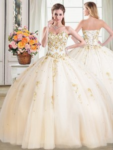 Champagne Sleeveless Beading Floor Length Quince Ball Gowns