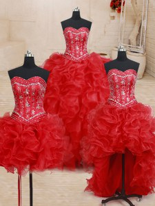 Four Piece Organza Sleeveless Floor Length Quinceanera Gown and Beading and Ruffles