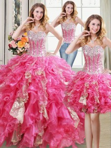 Three Piece Sleeveless Floor Length Beading and Ruffles and Sequins Lace Up Quinceanera Gown with Hot Pink