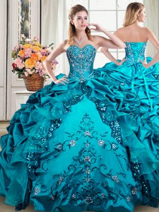 Sleeveless Floor Length Beading and Embroidery and Pick Ups Lace Up Quince Ball Gowns with Teal