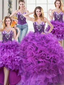 Four Piece Eggplant Purple Sleeveless Floor Length Beading and Ruffles Lace Up Quinceanera Dress