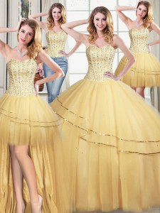 Pretty Four Piece Sleeveless Lace Up Floor Length Beading and Sequins Ball Gown Prom Dress