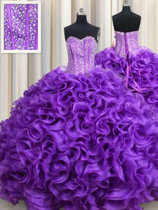 Shining Beading Quinceanera Gown Eggplant Purple Lace Up Sleeveless Floor Length