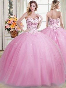Fantastic Floor Length Ball Gowns Sleeveless Rose Pink Quinceanera Gown Lace Up