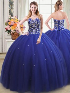 Glamorous Royal Blue Tulle Lace Up Sweetheart Sleeveless Floor Length 15th Birthday Dress Beading