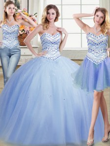 Great Three Piece Light Blue Ball Gowns Tulle Sweetheart Sleeveless Beading Floor Length Lace Up Quince Ball Gowns