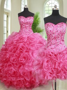 Glittering Three Piece Hot Pink Sleeveless Organza Lace Up 15 Quinceanera Dress for Military Ball and Sweet 16 and Quinceanera