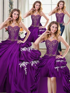 Four Piece Pick Ups Floor Length Ball Gowns Sleeveless Purple Vestidos de Quinceanera Lace Up