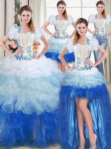 Four Piece Multi-color Vestidos de Quinceanera Military Ball and Sweet 16 and Quinceanera and For with Appliques and Ruffles Sweetheart Sleeveless Lace Up