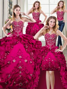 Fantastic Four Piece Floor Length Ball Gowns Sleeveless Fuchsia Quinceanera Dresses Lace Up
