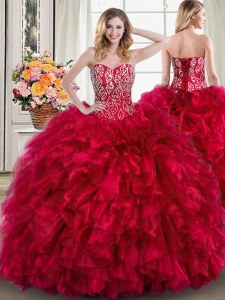 Colorful Red Ball Gowns Beading and Ruffles Ball Gown Prom Dress Lace Up Organza Sleeveless