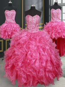 Adorable Four Piece Hot Pink Ball Gowns Beading and Ruffles Quince Ball Gowns Lace Up Organza Sleeveless Floor Length