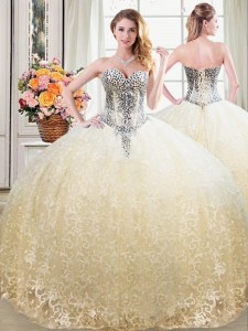 Champagne Sweetheart Neckline Beading and Lace Vestidos de Quinceanera Sleeveless Lace Up