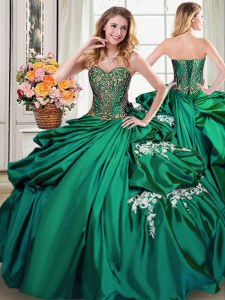 Glorious Sweetheart Sleeveless Taffeta Quinceanera Gowns Beading and Appliques and Pick Ups Lace Up