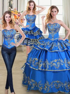 Simple Three Piece Floor Length Lace Up Quinceanera Dresses Blue for Military Ball and Sweet 16 and Quinceanera with Beading and Embroidery and Ruffled Layers