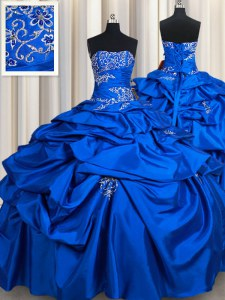 Pick Ups Strapless Sleeveless Lace Up Sweet 16 Quinceanera Dress Royal Blue Taffeta