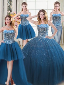 Four Piece Sleeveless Floor Length Beading Lace Up Quinceanera Dresses with Teal