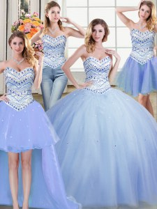 Four Piece Light Blue Sleeveless Tulle Lace Up Quinceanera Dress for Military Ball and Sweet 16 and Quinceanera