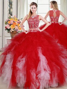 Fantastic Scoop Sleeveless Zipper 15 Quinceanera Dress White and Red Tulle