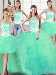 Four Piece Tulle Strapless Sleeveless Lace Up Beading and Appliques and Ruffles Quinceanera Gown in Turquoise