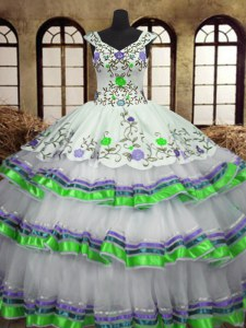 Free and Easy White Straps Neckline Embroidery and Ruffled Layers Quinceanera Gown Sleeveless Lace Up