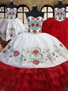 Three Piece Ruffled Ball Gowns Sweet 16 Dress White and Red Sweetheart Organza Sleeveless Floor Length Lace Up