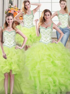 Fancy Four Piece Ball Gowns Quinceanera Dress Yellow Green Straps Organza Sleeveless Floor Length Lace Up