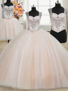 New Style Three Piece Straps Pink Zipper Quinceanera Gown Beading Sleeveless Floor Length