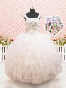 Straps Cap Sleeves Organza Toddler Flower Girl Dress Beading and Ruffled Layers Lace Up