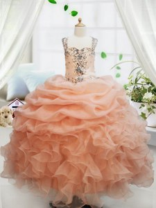 Orange Girls Pageant Dresses Quinceanera and Wedding Party and For with Beading and Ruffles and Pick Ups Straps Sleeveless Zipper