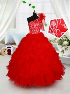 Nice One Shoulder Red Sleeveless Organza Lace Up Little Girls Pageant Dress for Quinceanera and Wedding Party