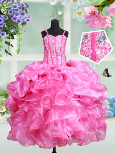 Rose Pink Ball Gowns Straps Sleeveless Organza Floor Length Lace Up Beading and Ruffles and Pick Ups Kids Pageant Dress