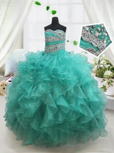 Unique Turquoise Ball Gowns Sweetheart Sleeveless Organza Floor Length Lace Up Beading and Ruffles Little Girl Pageant Gowns