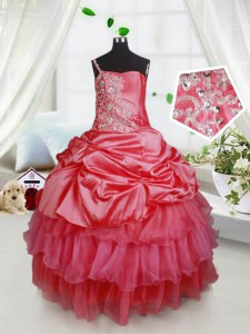 Floor Length Lace Up Little Girl Pageant Dress Red for Quinceanera and Wedding Party with Beading and Ruffled Layers