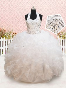 Halter Top Sleeveless Organza Flower Girl Dresses Beading and Ruffles Lace Up
