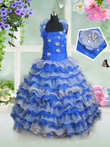 Simple Blue And White Little Girls Pageant Dress Quinceanera and Wedding Party and For with Beading and Appliques and Ruffled Layers Halter Top Sleeveless Lace Up