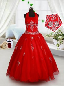 Fancy Halter Top Red Ball Gowns Beading and Appliques Little Girls Pageant Gowns Lace Up Organza Sleeveless Floor Length