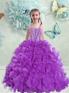 Customized Straps Eggplant Purple Ball Gowns Beading and Ruffles Little Girls Pageant Gowns Lace Up Organza Sleeveless Floor Length