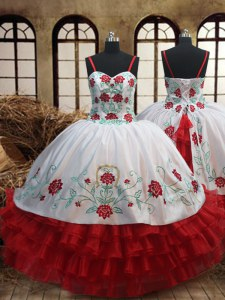 Stunning Ruffled Spaghetti Straps Sleeveless Lace Up Little Girl Pageant Dress White and Red Organza