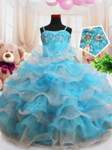 Straps Ruffled Floor Length Ball Gowns Sleeveless Baby Blue Little Girl Pageant Gowns Zipper