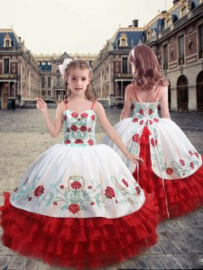 Excellent Straps Sleeveless Lace Up Little Girls Pageant Gowns White and Red Organza