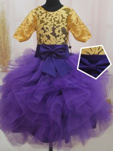 Scoop Eggplant Purple and Gold Short Sleeves Mini Length Lace and Ruffles and Bowknot Zipper Girls Pageant Dresses