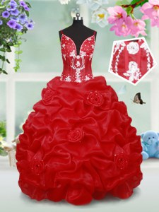Red Girls Pageant Dresses Quinceanera and Wedding Party and For with Beading and Pick Ups and Hand Made Flower Spaghetti Straps Sleeveless Lace Up