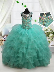Turquoise Scoop Neckline Beading and Ruffled Layers Pageant Gowns For Girls Sleeveless Lace Up