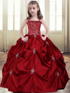 Wine Red Lace Up Spaghetti Straps Beading and Pick Ups Kids Pageant Dress Taffeta Sleeveless