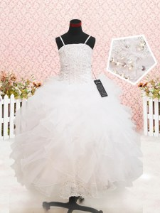 Cheap White Strapless Zipper Beading and Lace and Ruffles Toddler Flower Girl Dress Sleeveless