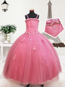 Floor Length Hot Pink Little Girl Pageant Gowns Straps Sleeveless Zipper