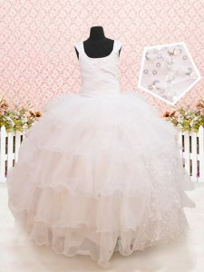 Stylish Scoop White Organza Lace Up Toddler Flower Girl Dress Sleeveless Floor Length Beading and Ruffled Layers and Sequins
