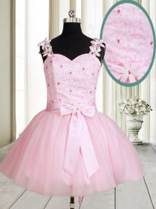 Nice Straps Mini Length Lace Up Dress for Prom Baby Pink for Prom and Party with Beading and Embroidery